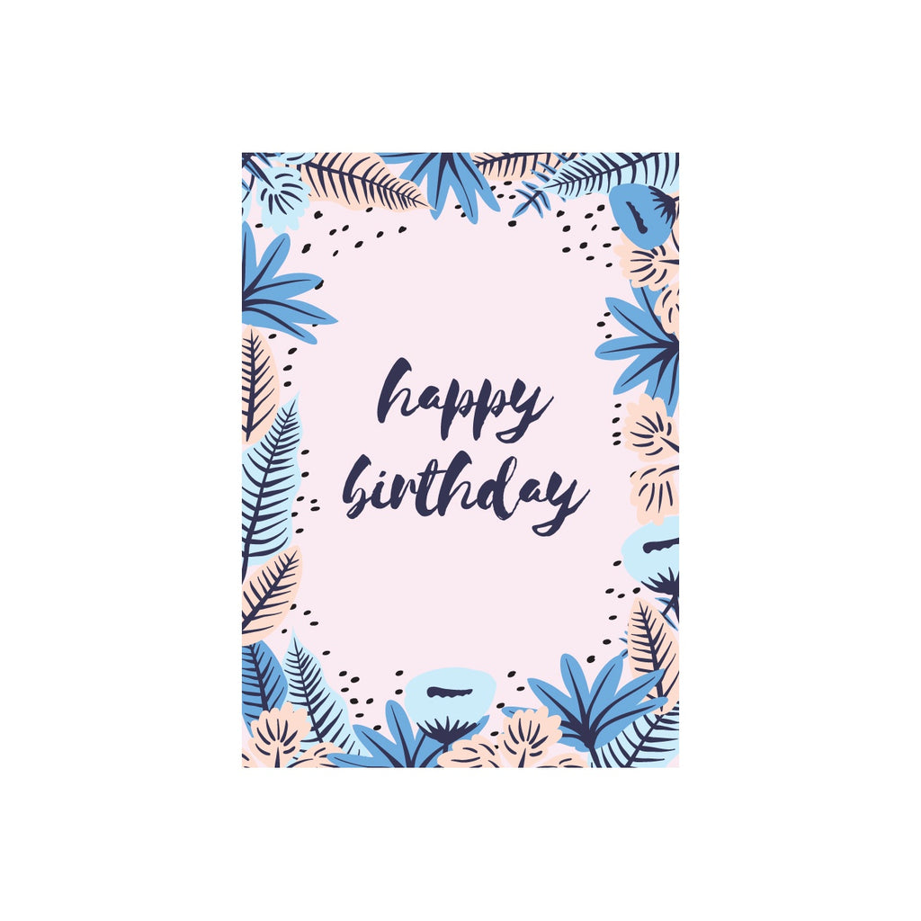 Iko Iko Floral Message Card Happy Birthday Pink