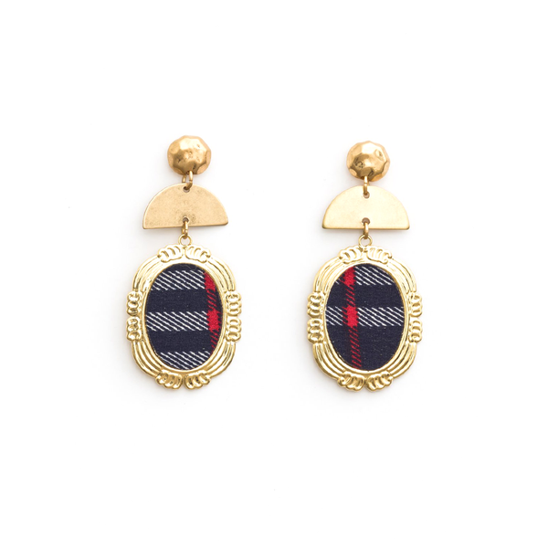 Stella + Gemma Earrings Plaid Oval Navy Gold