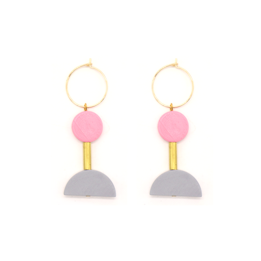 Penny Foggo Earrings Brass and Wood Shapes Grey Pink
