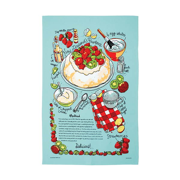 Kiwi Pavlova Tea Towel  Blue