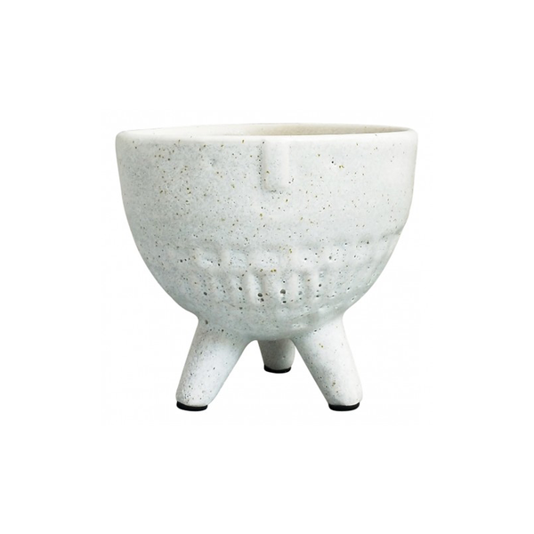 Round Face Planter on Legs White Medium
