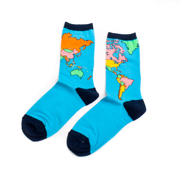 Socksmith Socks Womens World Map Bright Blue
