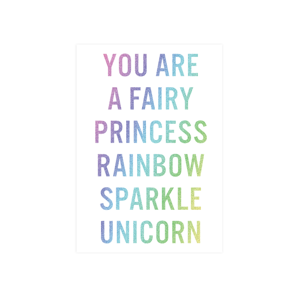 Iko Iko Words Card Unicorn