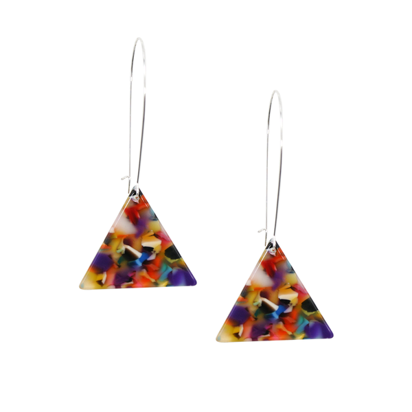 Penny Foggo Earrings Bright Multicolor Tortoise Triangle