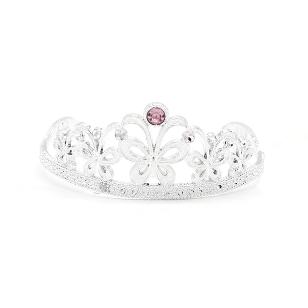 Plastic Tiara Silver Butterfly with Pink Jewel