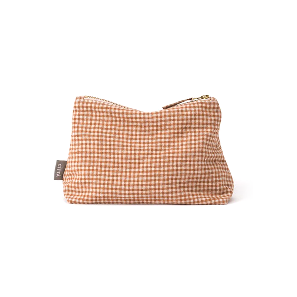 Citta Gingham Linen Utility Bag Malt Natural Small