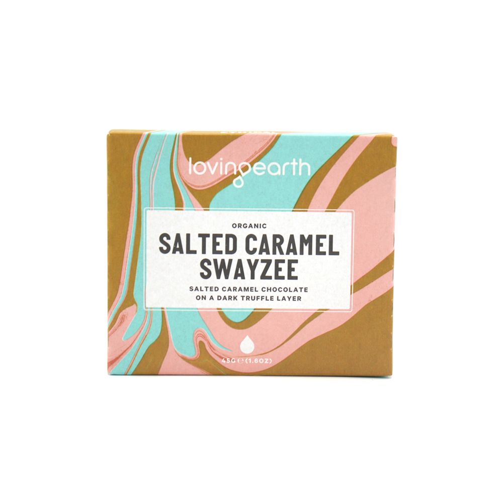 Loving Earth Organic & Vegan Chocolate 45g Salted Caramel Swayzee