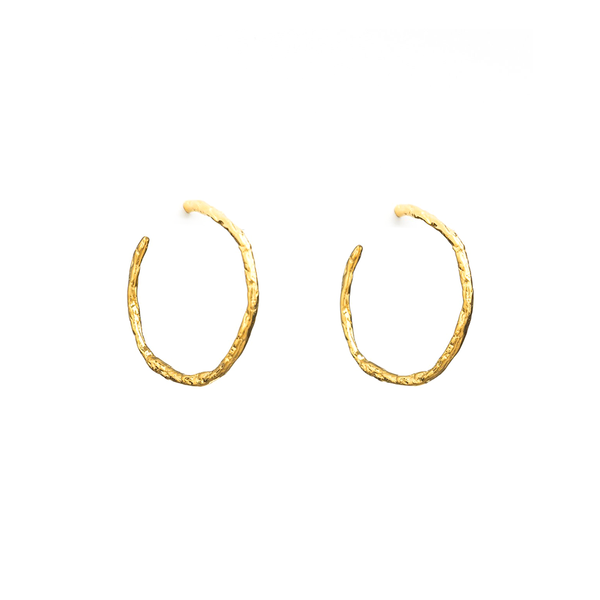 Stella + Gemma Earrings Vine Hoop Gold