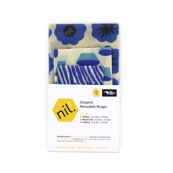 Nil Organic Beeswax Food Wraps Mixed Pack of 3 Blue