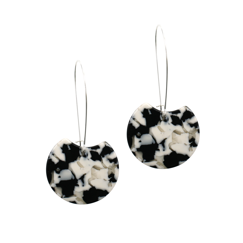 Penny Foggo Earrings Black & White Tortoiseshell Moons Long Silver