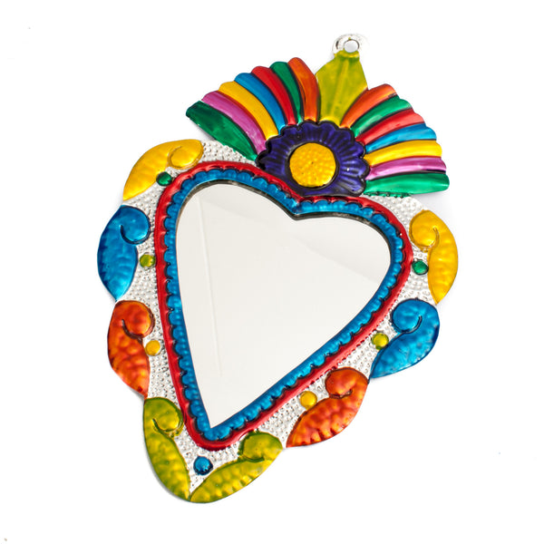 Mexican Tin Heart Mirror with Flower Rainbow