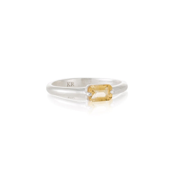 Kerry Rocks Baguette Ring Citrine Silver