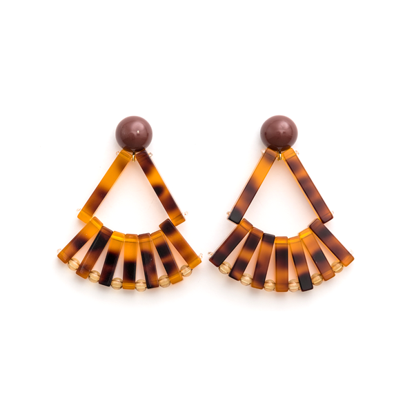 Stella + Gemma Earrings Resin Fans Amber