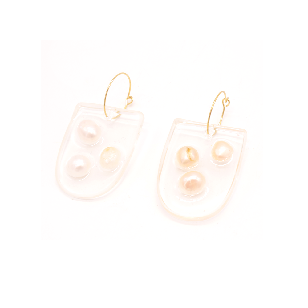 Penny Foggo Handmade Earrings Half Oval Pearl