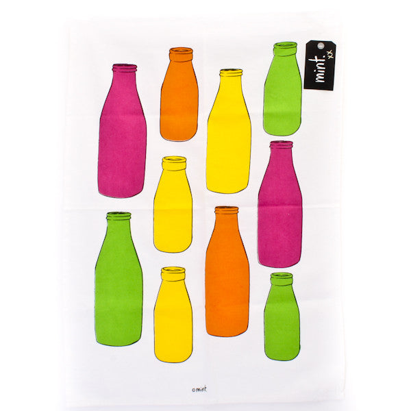 Colourful Milk Bottles Tea Towel