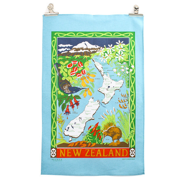 Flower/NZ Map Tea Towel