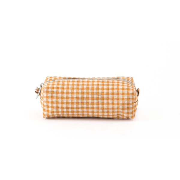 Citta Gingham Wash Bag Pumpkin Dijon Small
