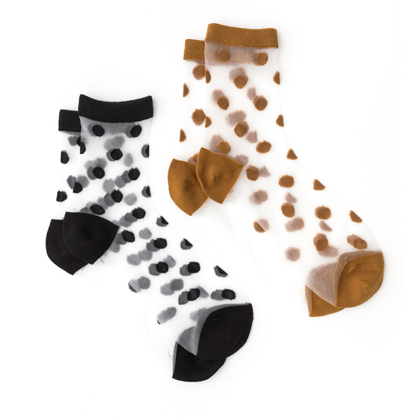 Stella + Gemma Socks Mesh Spot Pack of 2 Black Rust