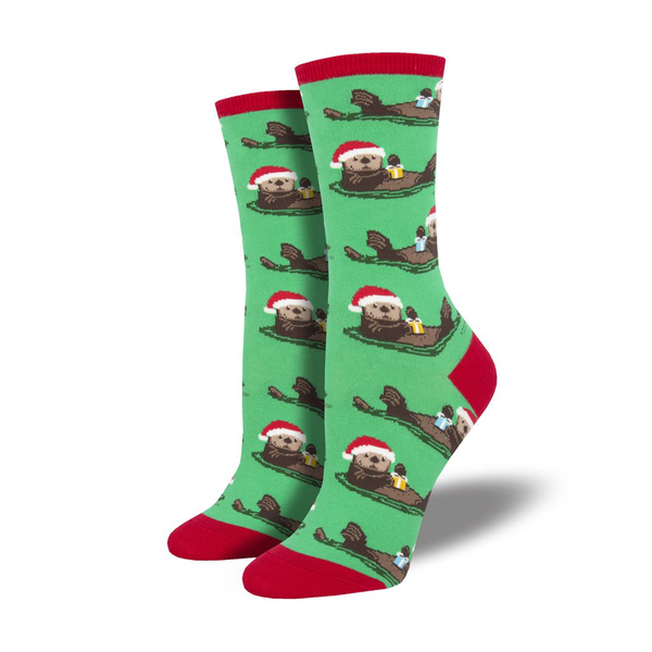 Socksmith Socks Womens Christmas Otterly Merry Green