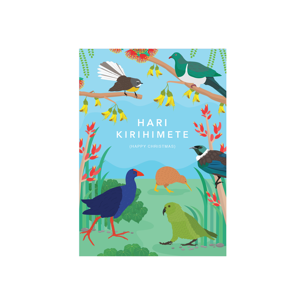 Iko Iko Christmas Card NZ Birds Day