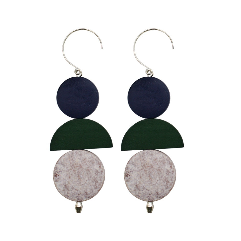Penny Foggo Earrings Wood Shapes Green and Navy