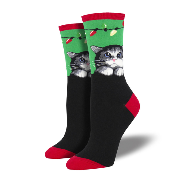 Socksmith Socks Womens Christmas Socks Purrty Lights Green