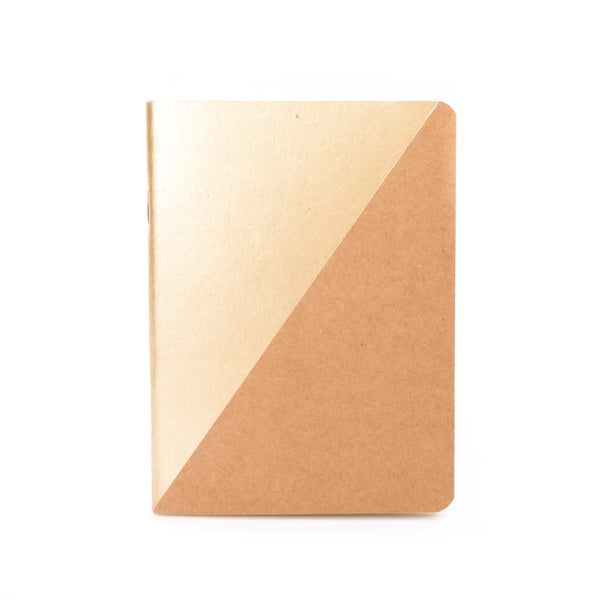Frank A6 Pocket Notebook Two Tone Gold Kraft