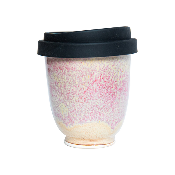 Westcoast Stoneware 8oz Reusable Cup Washout Dusty Pink and Beige