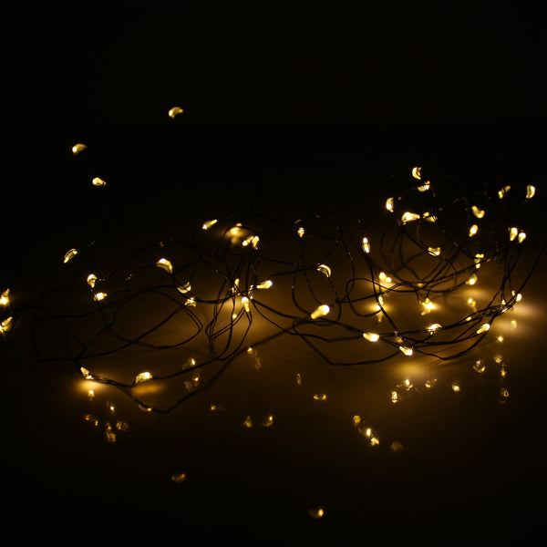 LED Wire Seed Light String Warm White 10m Black Battery Operated