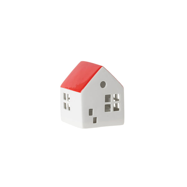 Citta Glazed Porcelain House LED Light Carmine Small