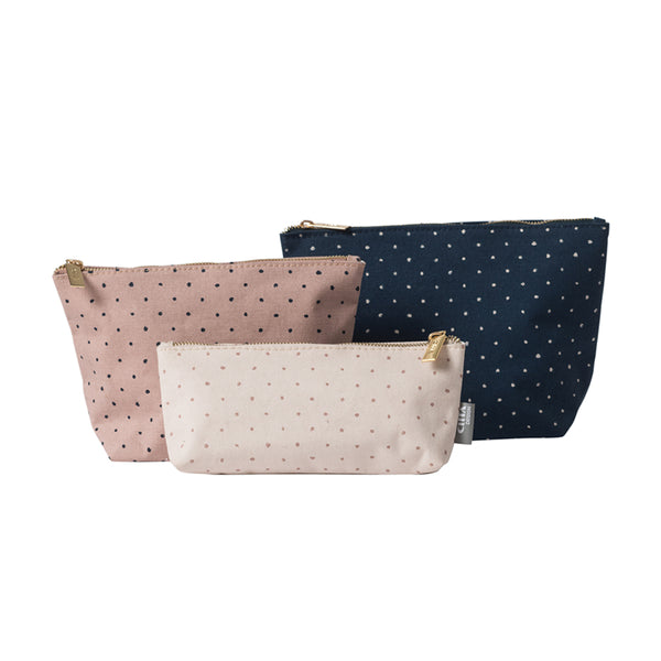 Citta Spot Cotton Wash Bag Large Navy Nougat