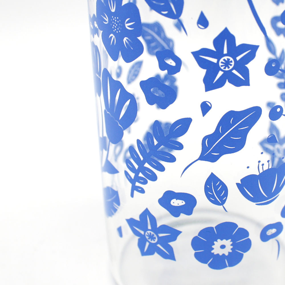 Iko Iko Flora Glass Bottle Wild Flowers Blue