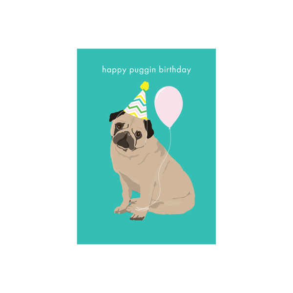 Iko Iko Animal Pun Card Puggin Birthday