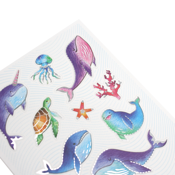 Silver Lined Narwhals and Whales Stickers
