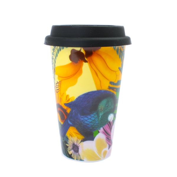 Flox NZ Birds and Flowers Ceramic Travel Mug