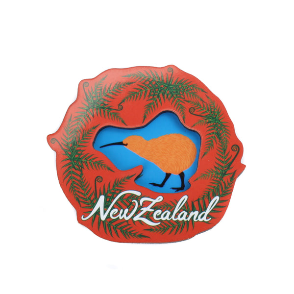 NZ Wooden 3D Magnet Kiwi and Ferns