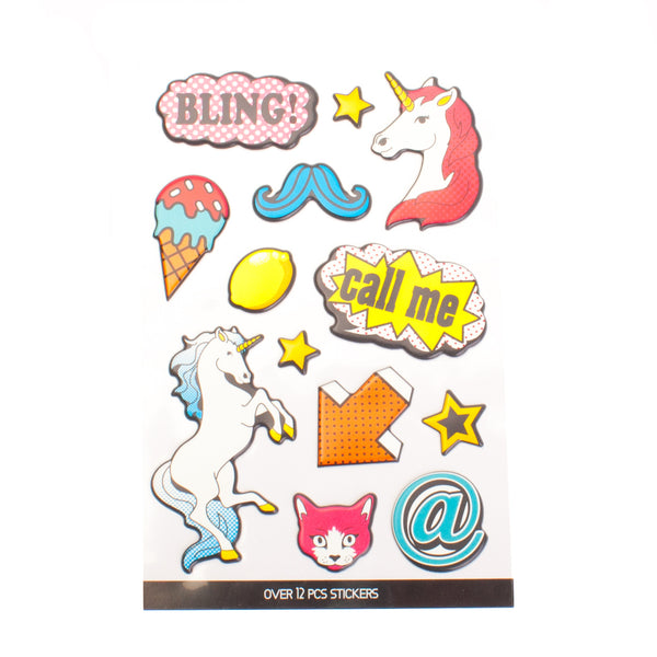 Fun Unicorn Puff Stickers