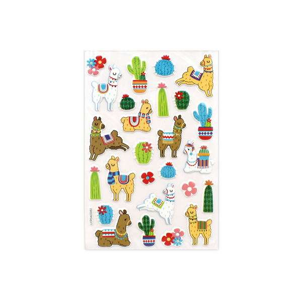 Llama and Cactus Puff Stickers
