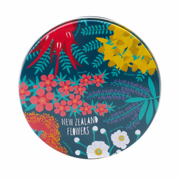 New Zealand Coasters in Tin Set of 6 Flowers and Birds