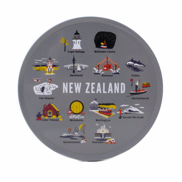 New Zealand Coasters in Tin Set of 6 NZ Icons Grey