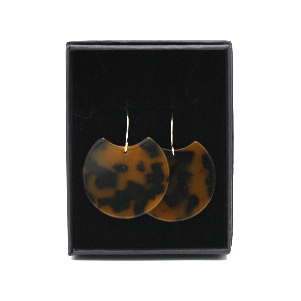 Penny Foggo Earrings Dark Tortoiseshell Moons