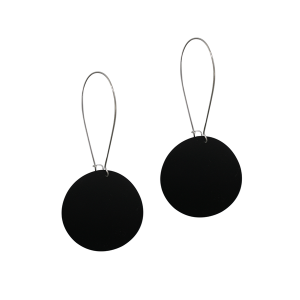 Penny Foggo Earrings Big Spot Silver Black