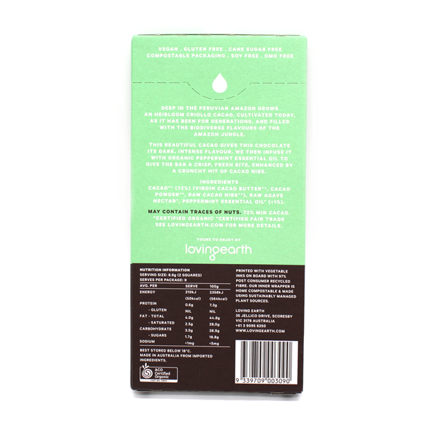 Loving Earth Raw & Organic Chocolate 80g Dark Mint