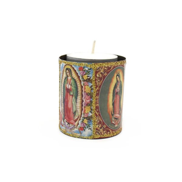 Mexican Candle in Tin Holder Virgin Mary