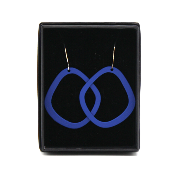 Penny Foggo Earrings Oval Hoops Blue
