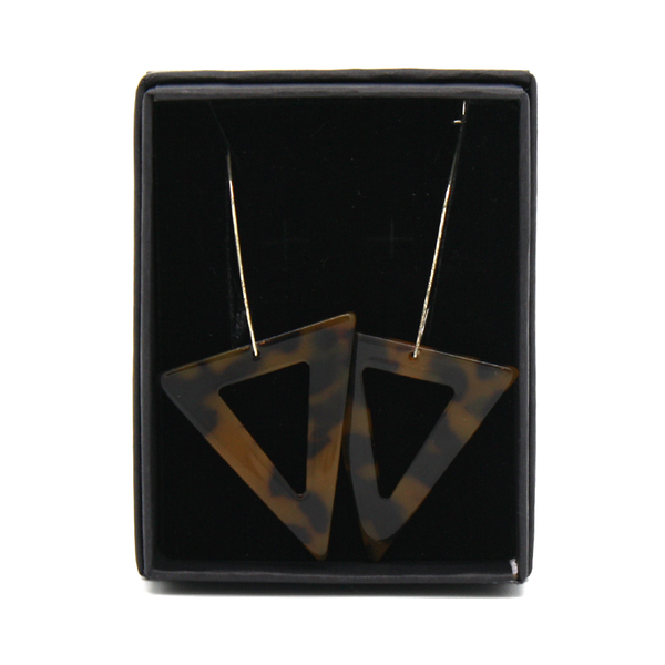 Penny Foggo Earrings Brown Tortoiseshell Triangles on Geometric Hooks