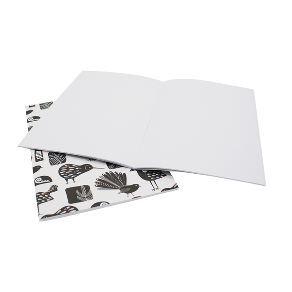 New Zealand A5 Notebook Set of 2 Birds Black and White