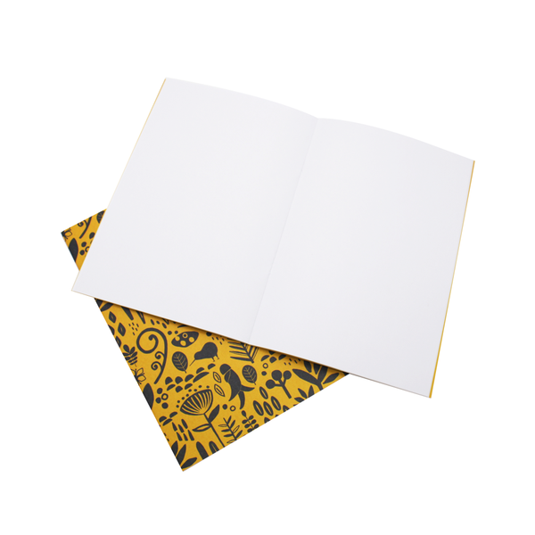 New Zealand A5 Notebook Set of 2 Floral Yellow