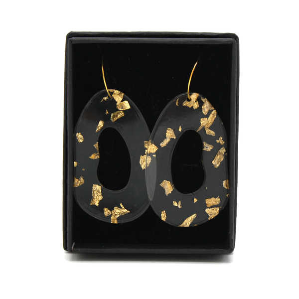 Penny Foggo Earrings Oval Drops Clear with Gold Leaf