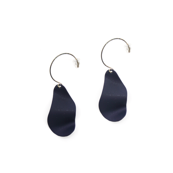 Penny Foggo Earrings Wavy Drops Navy